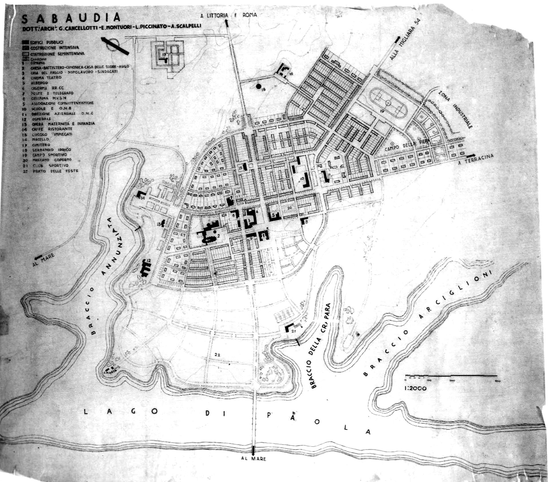 Piano regolatore del 1933 da cui si evince anche la progettazione del ponte. (Archivio storico comunale, sezione cartografia  storica)